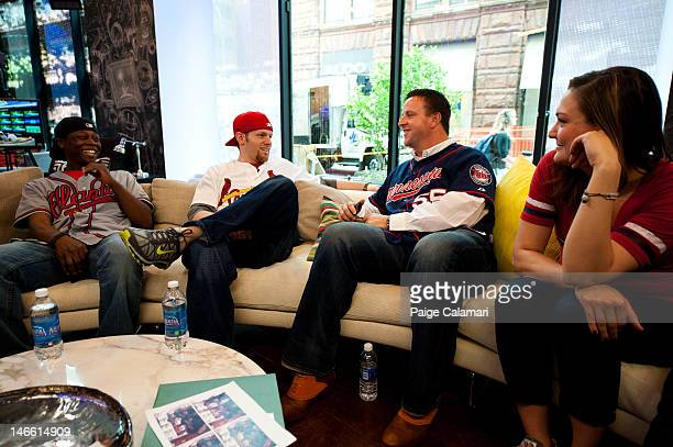 Minnesota Twins Matt Capps speaks with Shaun Kippins Kyle Thompson and Lindsay Guentzel during his visit to the MLB Fan Cave Wednesday April 18 at...