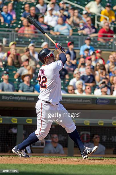 Minnesota Twins Miguel Sano bats in the ninth inning during MLB game action against the Chicago White Sox on September 3 2015 at Target Field in...