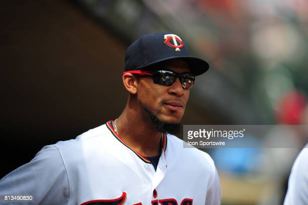 Minnesota Twins outfielder Byron Buxton looks on from the dugout before the start their Major League Baseball game against the Baltimore Orioles on...
