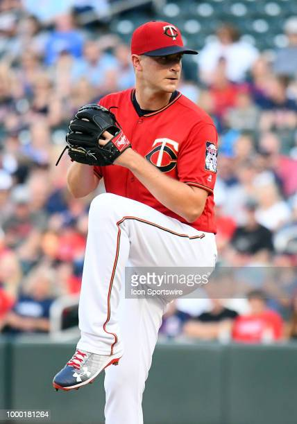 Minnesota Twins Pitcher Aaron Slegers delivers a pitch during a MLB game between the Minnesota Twins and Tampa Bay Rays on July 13 2018 at Target...