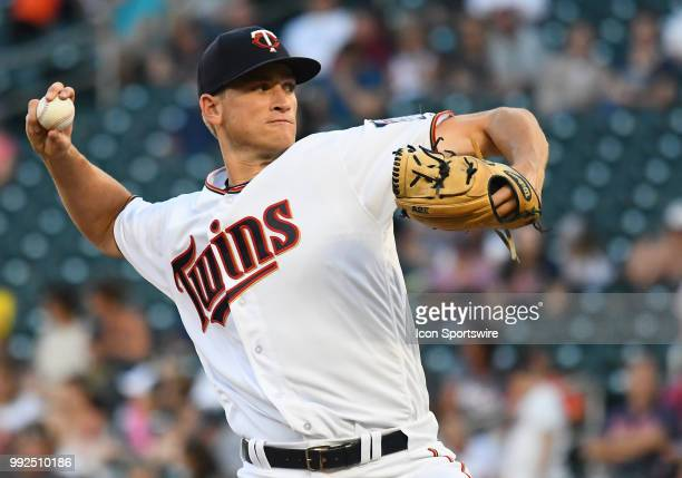 Minnesota Twins Pitcher Aaron Slegers delivers a pitch during a MLB game between the Minnesota Twins and Baltimore Orioles on July 5 2018 at Target...