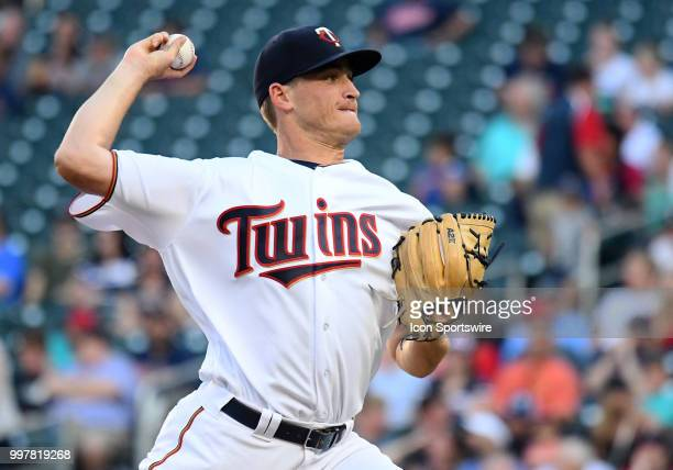 Minnesota Twins Pitcher Aaron Slegers delivers a pitch during a MLB game between the Minnesota Twins and Kansas City Royals on July 10 2018 at Target...