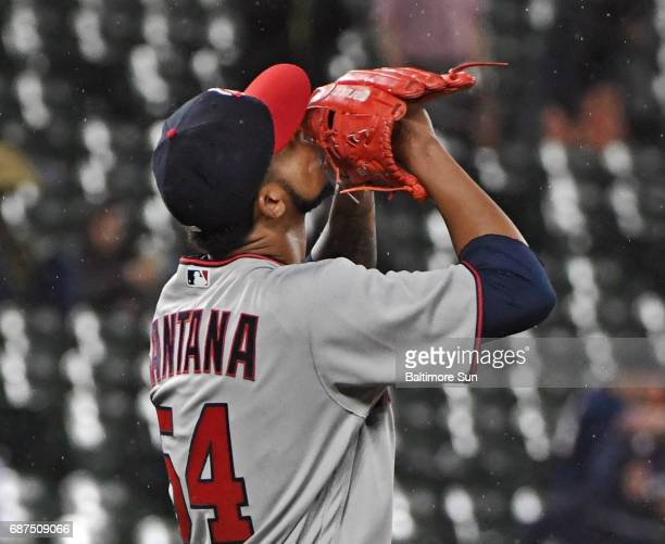 Minnesota Twins pitcher Ervin Santana kisses his glove after pitching a complete game shutout against the Baltimore Orioles on Tuesday May 23 2017 at...