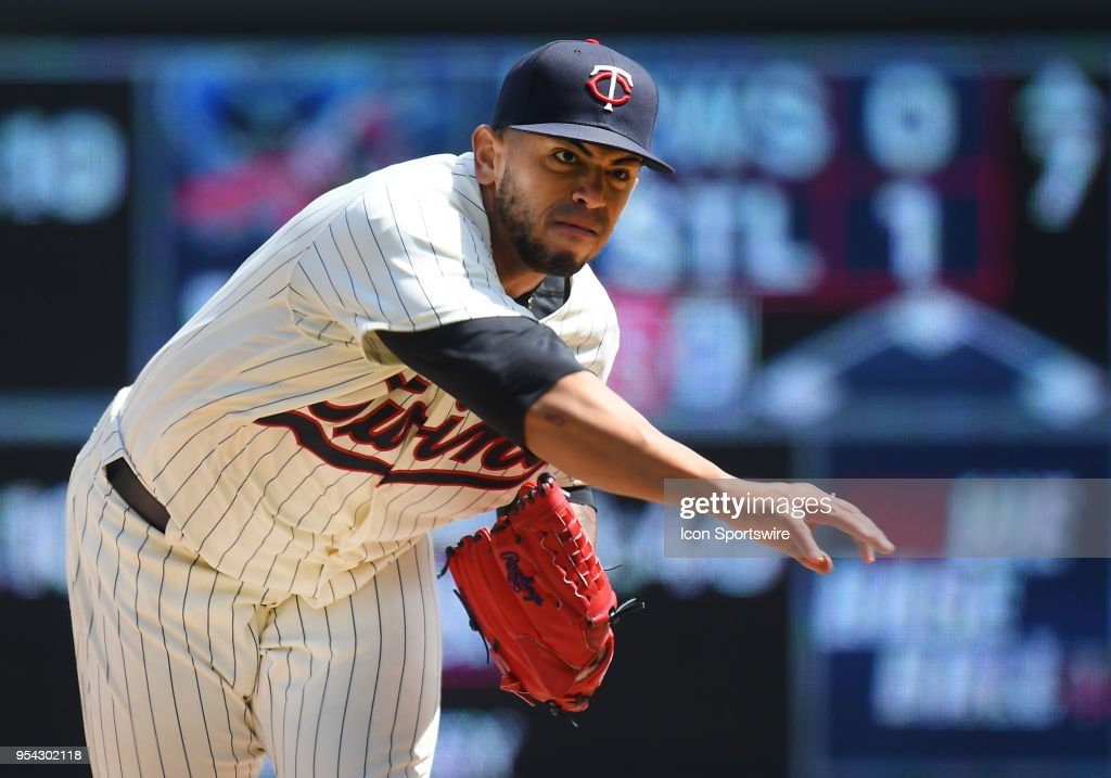 Minnesota Twins Pitcher Fernando Romero (77) delivers a pitch during a MLB game between the Minnesota Twins and Toronto Blue Jays on May 2, 2018 at Target Field in Minneapolis, MN.The Twins defeated the Blue Jays 4-0.
