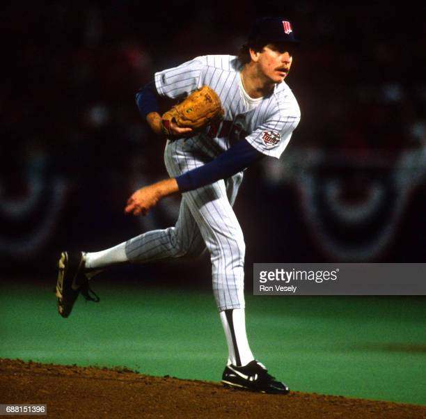 Minnesota Twins pitcher Frank Viola pitches against the St Louis Cardinals during the 1987 World Series at Busch Stadium in St Louis Missouri earning...