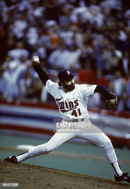Minnesota Twins' pitcher Jeff Reardon pitches against the St. Louis Cardinals during the World Series at the Metrodome in October of 1987 in...