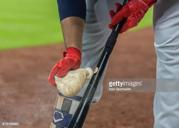 Minnesota Twins relief pitcher Glen Perkins prepares his bat on deck during the MLB game between the Minnesota Twins and Houston Astros on July 14...