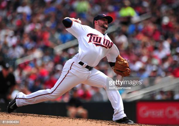 Minnesota Twins relief pitcher Ryan Pressly delivers to the Baltimore Orioles in the sixth inning of their Major League Baseball game on July 09 2017...