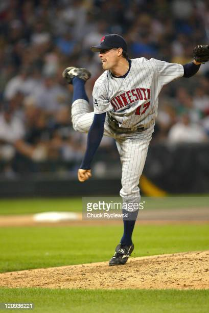 Minnesota Twins' reliever Pat Neshek pitches during the Twins 54 victory over the Chicago White Sox on August 25 2006 at US Cellular Field in Chicago...