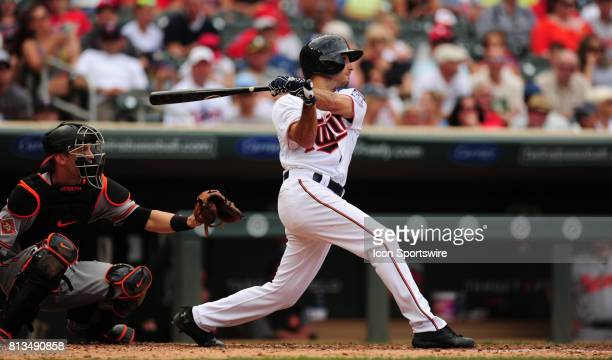 Minnesota Twins rookie batter batter Zack Granite flies out in the fourth inning of his first MLB start during their Major League Baseball game...