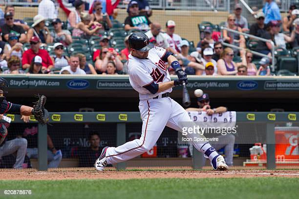 Minnesota Twins second baseman Brian Dozier hits a ball deep in the bottom of the 2nd inning during the American League matchup between the Cleveland...