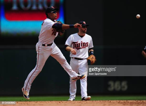 Minnesota Twins shortstop Jorge Polanco throws out a Baltimore Orioles runner at first base in the sixth inning of their Major League Baseball game...