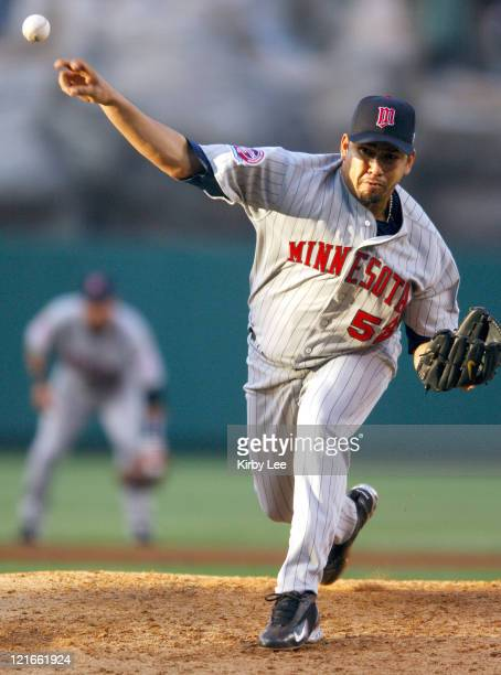 Minnesota Twins' starter Carlos Silva pitches during a 75 win over the Los Angeles Angels of Anaheim at Angel Stadium in Anaheim California on Monday...