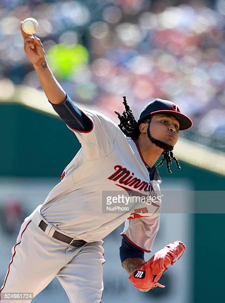 Minnesota Twins starting pitcher Ervin Santana pitches the second inning of a baseball game against the Detroit Tigers in Detroit Michigan USA on...