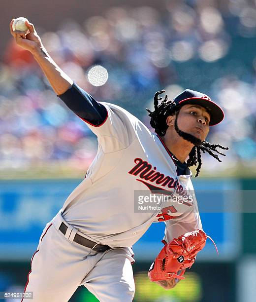 Minnesota Twins starting pitcher Ervin Santana pitches the third inning of a baseball game against the Detroit Tigers in Detroit Michigan USA on...