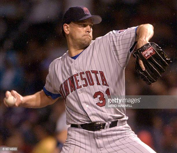 Minnesota Twins starting pitcher Rick Reed delivers a pitch against the Cleveland Indians on 14 September 2002 at Jacobs Field in Cleveland OH Reed...