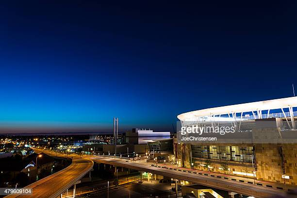 minnesota twins, target field sunset - target field minneapolis stock pictures, royalty-free photos & images