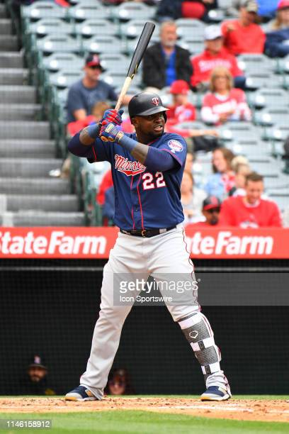 Minnesota Twins third baseman Miguel Sano at bat during a MLB game between the Minnesota Twins and the Los Angeles Angels of Anaheim on May 23, 2019...