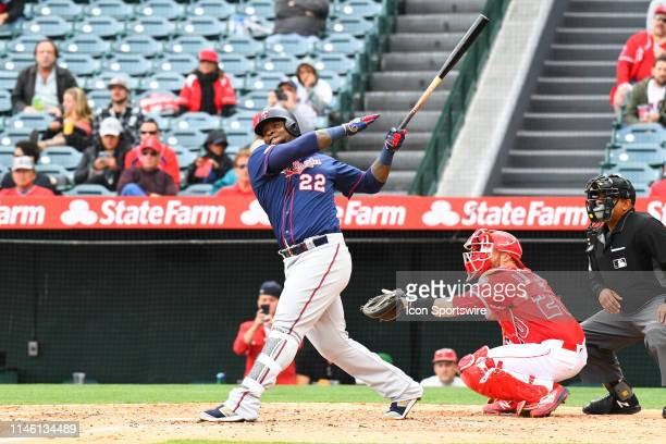 Minnesota Twins third baseman Miguel Sano hits a home run during a MLB game between the Minnesota Twins and the Los Angeles Angels of Anaheim on May...