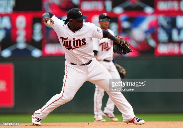 Minnesota Twins third baseman Miguel Sano throws out a Baltimore Orioles runner at first base in the seventh inning of their Major League Baseball...