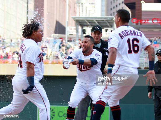 Minnesota Twins' Willians Astudillo is doused with water by Twins' Eddie Rosario after Astudillo hit a walkoff tworun homer in the ninth inning off...