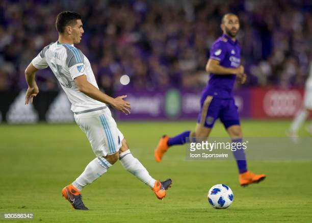 Minnesota United defender Michael Boxall passes the ball during the MLS Soccer match between Orlando City SC and Minnesota United FC on March 10th...