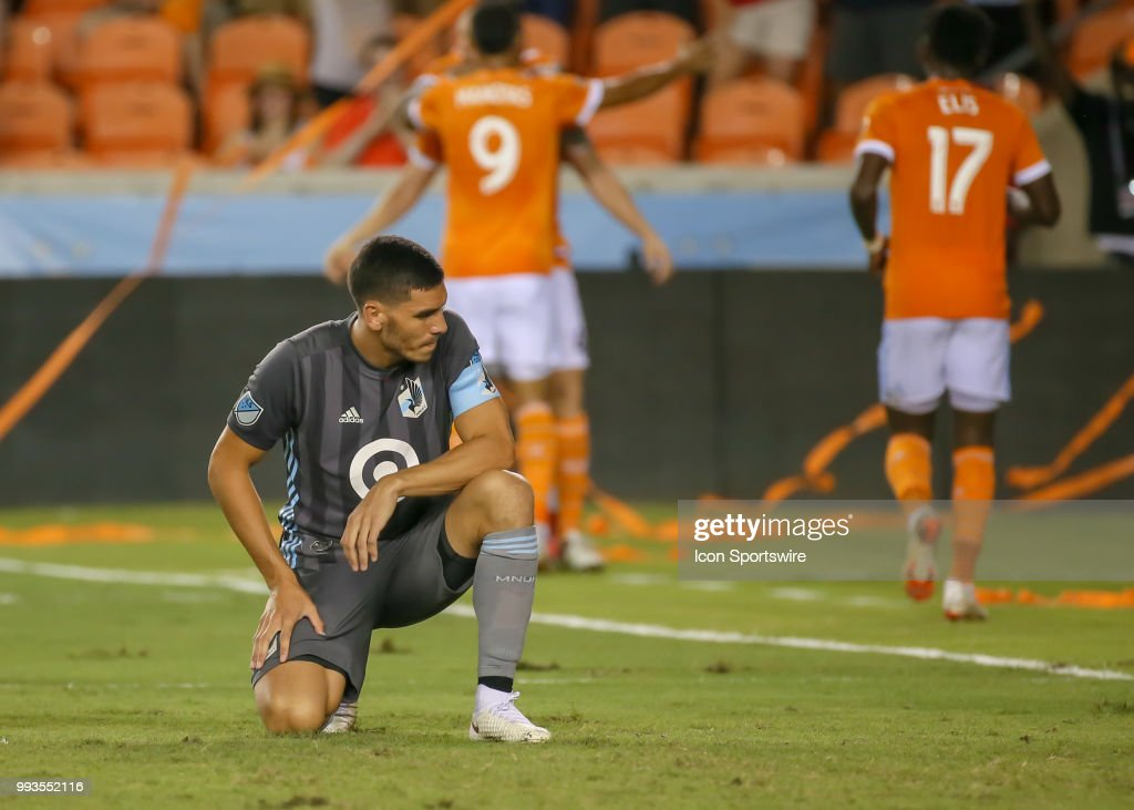 Minnesota United defender Michael Boxall (15) reacts after being scored upon during the soccer match between the Minnesota United FC and Houston Dynamo on July 7, 2018 at BBVA Compass Stadium in Houston, Texas.