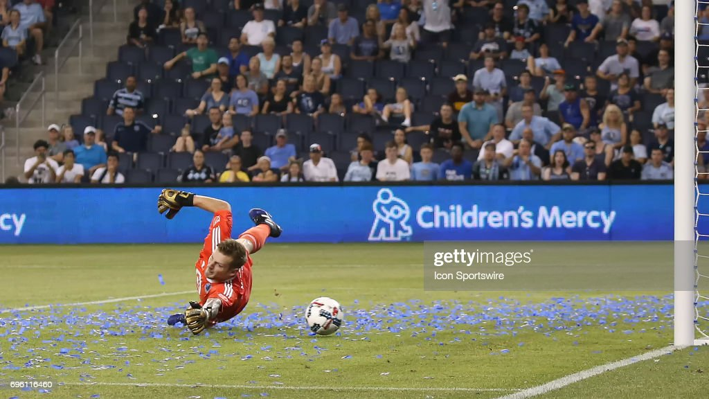 Minnesota United goalkeeper Patrick McLain (24) can't stop the shot by Sporting Kansas City forward Daniel Salloi (30) in the second half of a US Open Cup match between Minnesota United FC and Sporting Kansas City on June 14, 2017 at Children's Mercy Park in Kansas City, KS. Sporting Kansas City won 4-0.