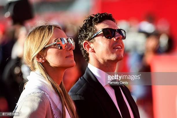 Minnesota United States 29 September 2016 Rory McIlroy of Europe with his fiancée Erica Stoll during the opening ceremony ahead of The 2016 Ryder Cup...