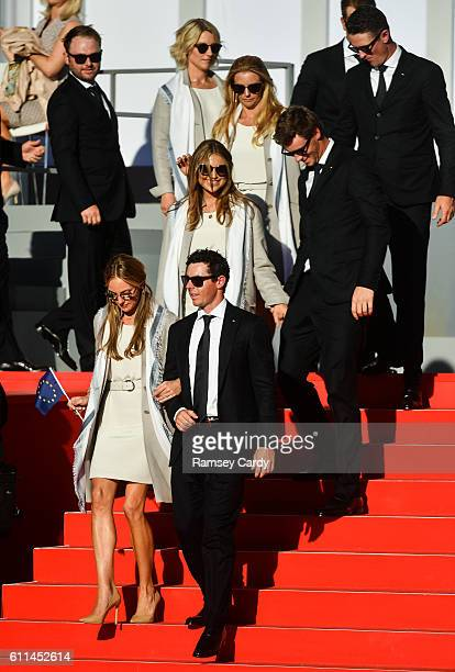 Minnesota United States 29 September 2016 Rory McIlroy of Europe with his fianceé Erica Stoll during the opening ceremony ahead of The 2016 Ryder Cup...