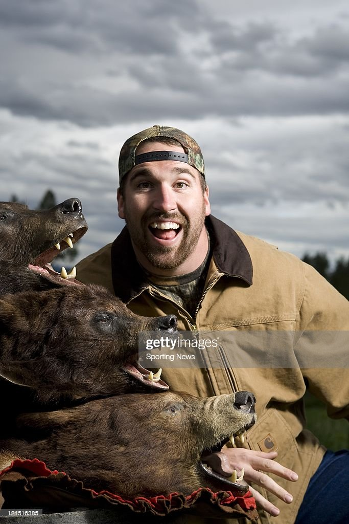 Minnesota Viking Defensive End Jared Allen Poses On A Bear Hunting Trip Near Bonners Ferry