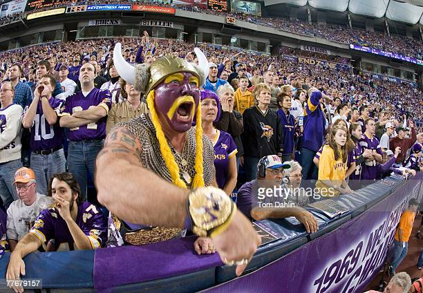 Minnesota Viking super fan Syd Davy encourages the Vikings defense during an NFL game against the San Diego Chargers at the Hubert H Humphrey...