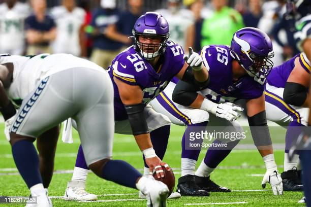 Minnesota Vikings center Garrett Bradbury in action in the first quarter against the Seattle Seahawks at US Bank Stadium on August 18 2019 in...