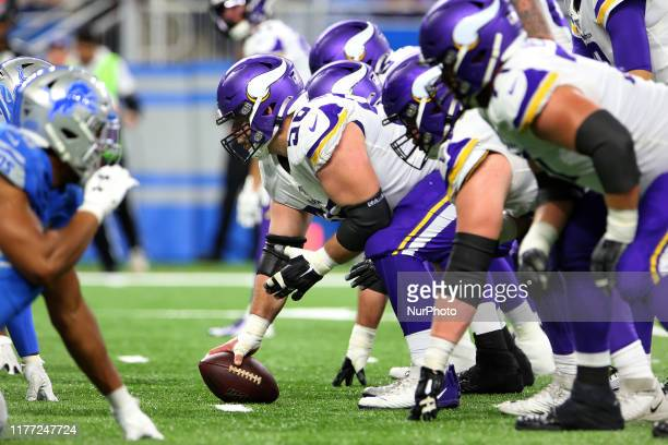 Minnesota Vikings center Garrett Bradbury prepares to snap at the line of scrimmage during the second half of an NFL football game against the...