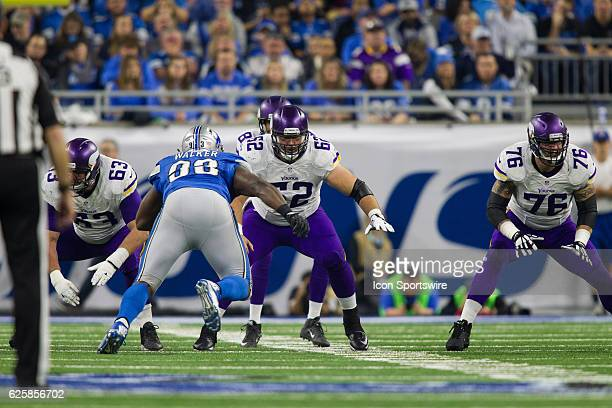 Minnesota Vikings center Nick Easton and Alex Boone and guard Brandon Fusco block during game action between the Minnesota Vikings and the Detroit...