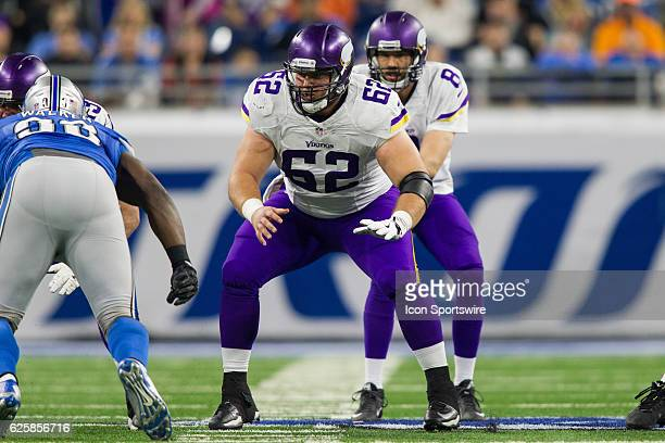 Minnesota Vikings center Nick Easton blocks during game action between the Minnesota Vikings and the Detroit Lions on Thanksgiving Day on November 24...