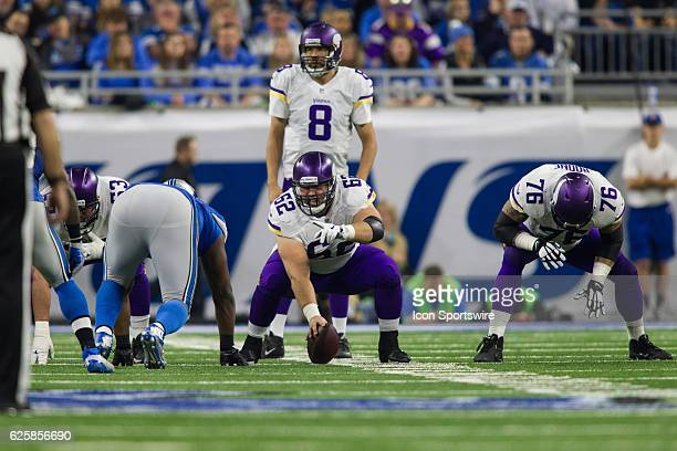 Minnesota Vikings center Nick Easton calls out instructions during game action between the Minnesota Vikings and the Detroit Lions on Thanksgiving...