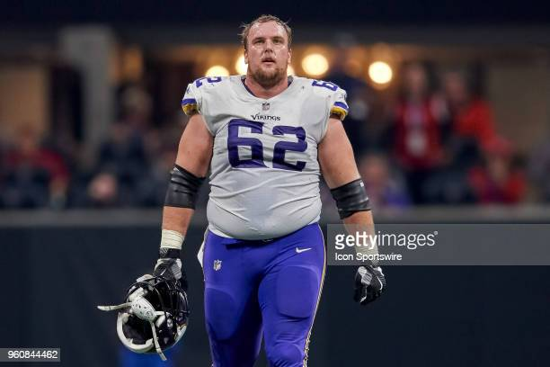 Minnesota Vikings center Nick Easton looks on during an NFL football game between the Minnesota Vikings and Atlanta Falcons on December 3 2017 at...