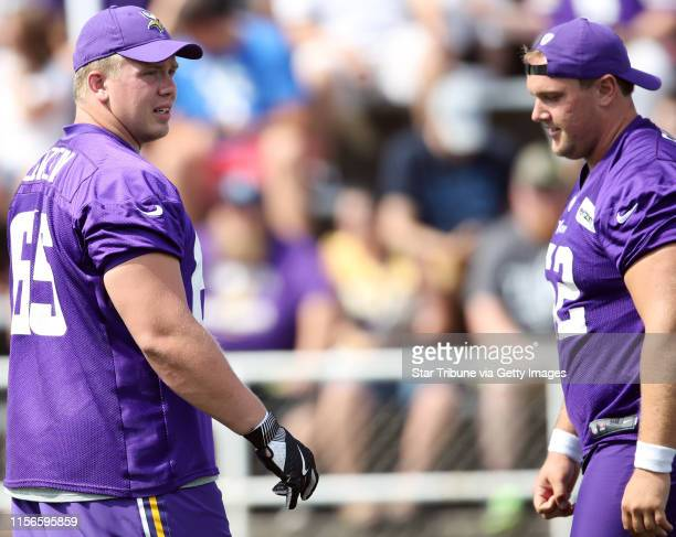 Minnesota Vikings center Pat Elflein left and center Nick Easton at Minnesota State University Mankato Friday July 28 2017 in Mankato MN ] JERRY HOLT...