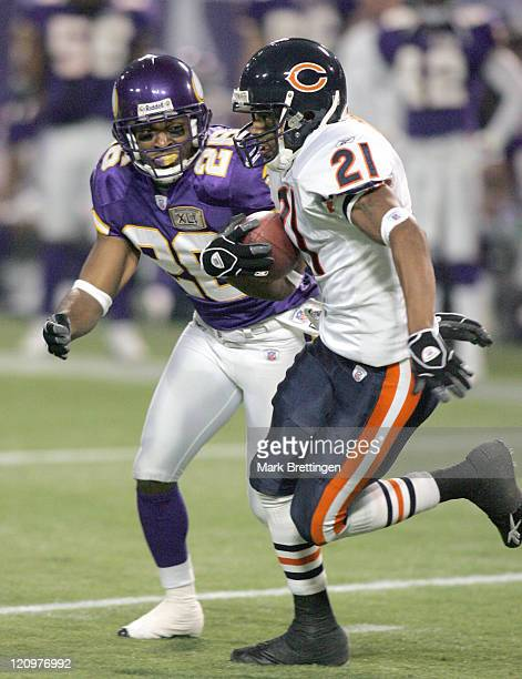 Minnesota Vikings cornerback Antoine Winfield chases running back Thomas Jones during a game against the Chicago Bears on January 1 2006 in the...