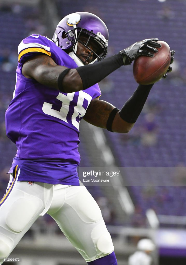 Minnesota Vikings cornerback Horace Richardson (38) warms up before a NFL preseason game between the Minnesota Vikings and Miami Dolphins on August 31, 2017 at U.S. Bank Stadium in Minneapolis, MN. The Dolphins defeated the Vikings 30-9.