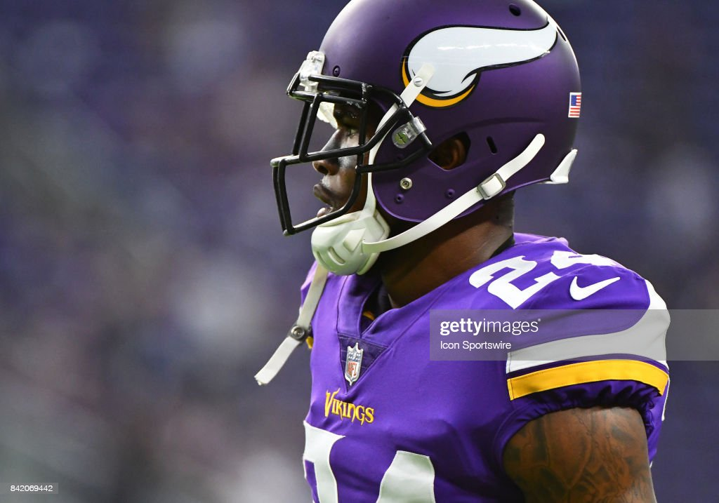 Minnesota Vikings cornerback Jabari Price (24) warms up before a NFL preseason game between the Minnesota Vikings and Miami Dolphins on August 31, 2017 at U.S. Bank Stadium in Minneapolis, MN. The Dolphins defeated the Vikings 30-9.