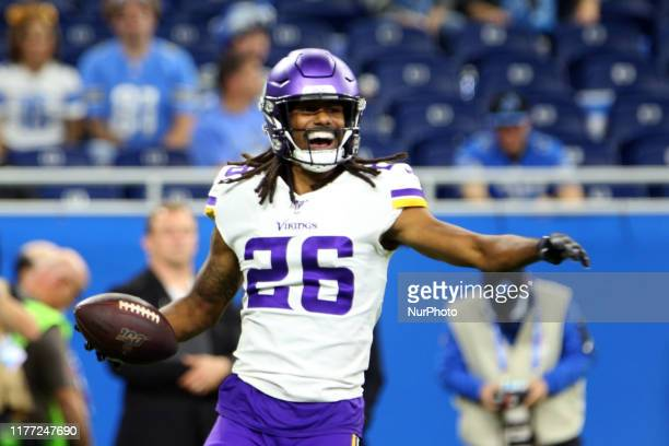 Minnesota Vikings cornerback Trae Waynes celebrates his interception during the second half of an NFL football game against the Detroit Lions in...