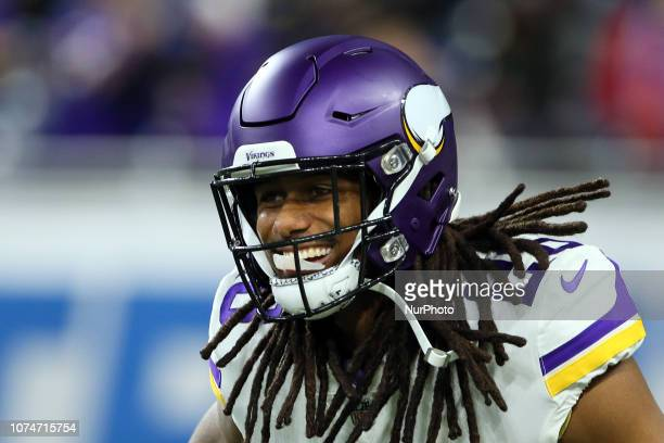 Minnesota Vikings cornerback Trae Waynes during warmups before an NFL football game against the Detroit Lions in Detroit, Michigan USA, on Sunday,...