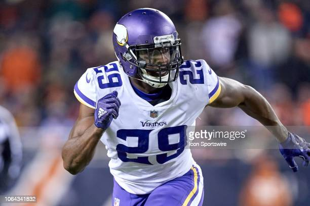 Minnesota Vikings cornerback Xavier Rhodes battles in action during a NFL game between the Chicago Bears and the Minnesota Vikings on November 18...
