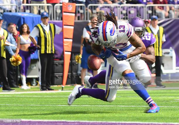 Minnesota Vikings Cornerback Xavier Rhodes breaks up a pass intended for Buffalo Bills Wide Receiver Kelvin Benjamin during a NFL game between the...