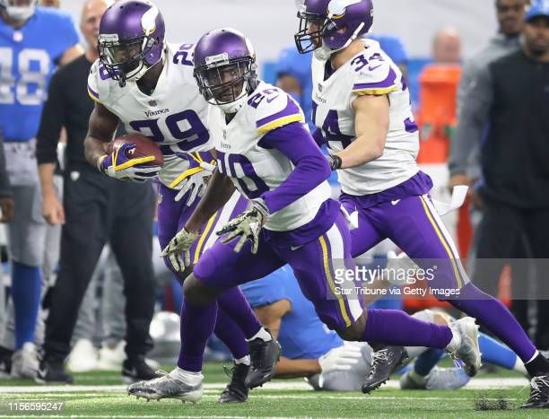 Minnesota Vikings cornerback Xavier Rhodes intercepted a pass intended for Detroit Lions wide receiver Marvin Jones at Ford Field Thursday November...