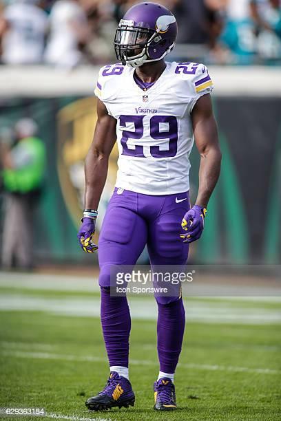 Minnesota Vikings Cornerback Xavier Rhodes walks off the field during the NFL game between the Minnesota Vikings and the Jacksonville Jaguars on...
