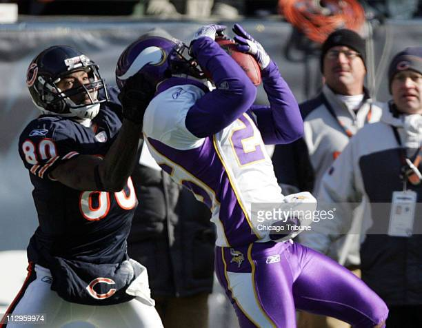 Minnesota Vikings defensive back Antoine Winfield intercepts pass intended for Chicago Bears receiver Bernard Berrian in the first quarter The Bears...