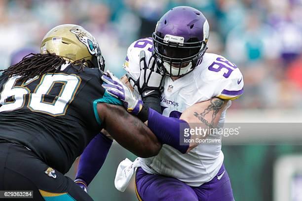 Minnesota Vikings Defensive End Brian Robison battles Jacksonville Jaguars Offensive Guard A.J. Cann during the NFL game between the Minnesota...